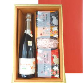 ワインとお菓子のギフト フランスのビオ・スパークリング      カステラとラスクのスイーツセット