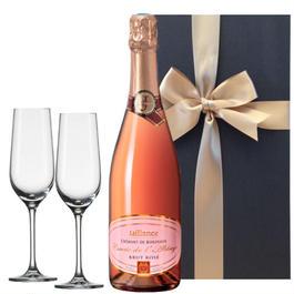 【グラスとワインギフトセット】 ボルドーのロゼスパークリング、フランス (750 ml)、ペアクリスタルフルートシャンパングラス