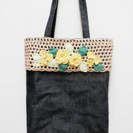 【ああ】サブBag 紺×黄色の花 P17-1110