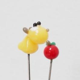 【gemma】まち針2本セット ハムスター&りんご L13-1706