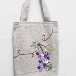 【ああ】刺繍とスパンコールワークのバッグ 葡萄 P17-979