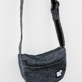 【ああ】ウールの斜め掛けBag 黒ツイード P17-1069