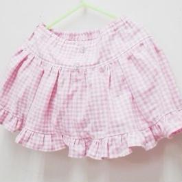 【ああ】ふりふりブルマー付きスカート Baby90-95 ピンクチェック P17-1136