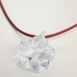【ガラス工房Lamb】フラワーペンダント(薄水色) L4-0159