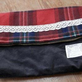 【ああ】クラッチバッグ 赤チェック P17-1084