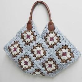 【ああ】毛糸のモチーフbag ブルー P17-1011