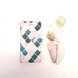 【pajour 】 ビジュー無し ピンク マーメイド 柄 手帳型 スマホケース【iPhone】【手帳】【人魚】【モロッカン】