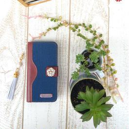【pajour 】( 生デニム ) バイカラー 手帳型 スマホケース【iPhone】【手帳】【岡山デニム】