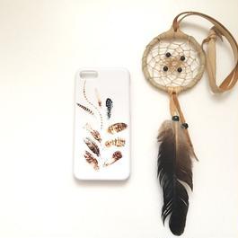 pajour(パジュール) フェザー柄 ① スマホ ハードケース (鳥モチーフ、酉年,羽)