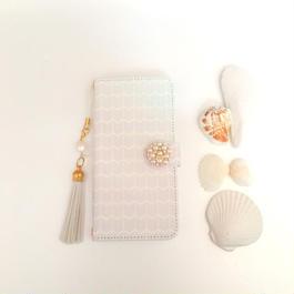pajour(パジュール) ピンク グラデ フェザー柄 手帳型 ケース