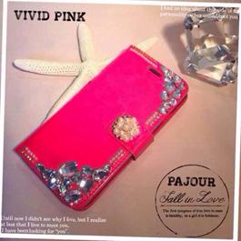pajour)ビジュー盛り手帳型ケース