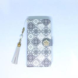 【pajour 】(  グレージュ  ) イズニック タイル 柄 手帳型 スマホケース【iPhone】【手帳】【タイル柄】