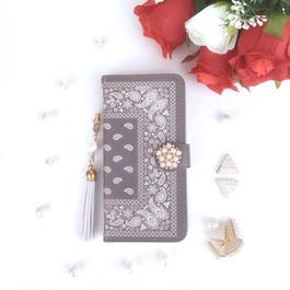 【pajour 】グレージュ ペイズリー 柄 手帳型 スマホケース【iPhone】【手帳】【ペイズリー】