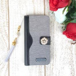 【pajour 】( ブラックデニム ) バイカラー 手帳型 スマホケース【iPhone】【手帳】【岡山デニム】