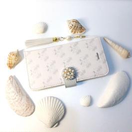 (ペールピンク)フラミンゴ×パームツリー柄手帳型スマホケース