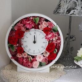 赤ローズの花時計