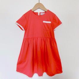 裾リボンワンピース 【RED 90〜120サイズ】