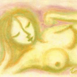 手描き絵の原画「まどろみ」