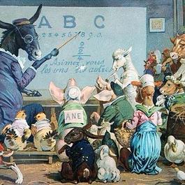 ◆フランス Au bon marché アンティーククロモス◆動物たちの楽しい学校