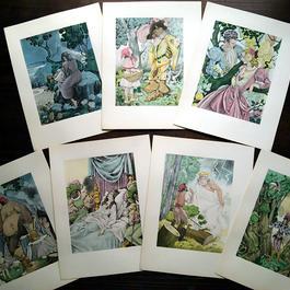 ◆Umberto Brunelleschi(ウンベルト・ブルネレスキ)◆1946年 シャルル・ペローの童話集 別刷挿絵 7葉