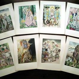 ◆Umberto Brunelleschi(ウンベルト・ブルネレスキ)◆1946年 シャルル・ペローの童話集 別刷挿絵 8葉