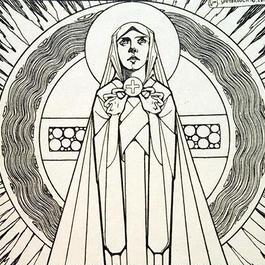 J.Speybrouck ☆十字架と聖女☆アンティークポストカード