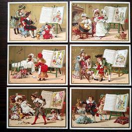 ◆フランス Au bon marché 童話シリーズ アンティーククロモス6枚セット◆赤ずきんちゃん、長靴をはいた猫