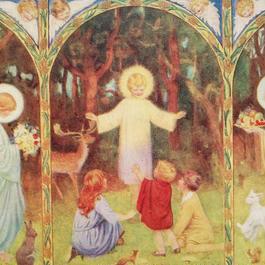◆M.W.Tarrant キリストの祝福を受ける子供たち◆アンティークポストカード