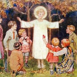 ◆M.W.Tarrant 子供たちの傷を癒すイエス・キリスト◆アンティークポストカード
