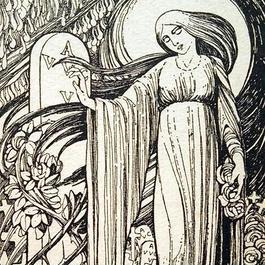 J.Speybrouck ☆十字架と薔薇と女神☆アンティークポストカード