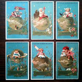 ◆フランス Chocolat Guerin-Boutron 惑星と子供たち アンティーククロモス6枚セット◆