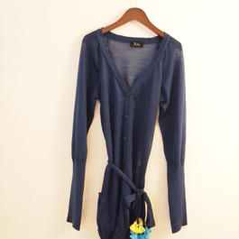 tassel belt Cardigan  blue