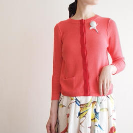 feather tulip Cardigan orange pink