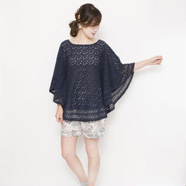 crochet lace Pullover  navy