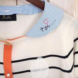 【1点物】marine border Cardigan  embroidery stripe Collar