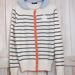 marine border Cardigan  stripe Collar