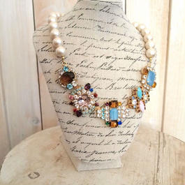 cotton pearl bijoux necklace blue x brown