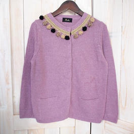 【1点物】pompom Cardigan  purple