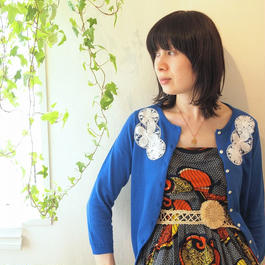 circle flower Cardigan blue