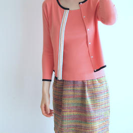 beaded trim Cardigan coral pink