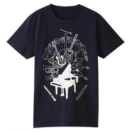 NOW&弦 イラストTシャツ(ネイビー)
