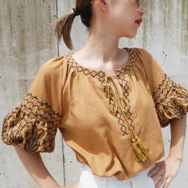カフタン刺繍タッセルブラウス/yellow