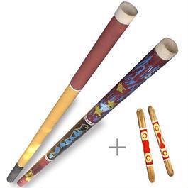 ペーパーディジュリドゥ+拍子木=ビギナーズセット/Paper Didgeridoo+Sticks=Biginer's  Set