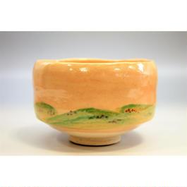 春の野 茶碗 佐々木松楽作