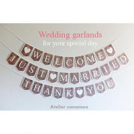 <3本セット>ガーランド(ナチュラルビンテージ:ウッド) JUST MARRIED,WELCOME,THANK YOU