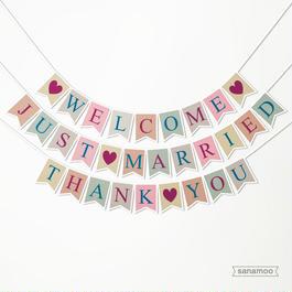 <3本セット>ウェディング用バナー(スモーキーカラー):JUST MARRIED、WELCOME、THANK YOU