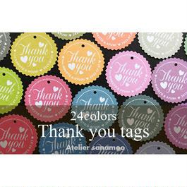 【名入れ無料】ウェディング用 Thank youタグ(ミニサイズ24枚入り):24色 ★シールにご変更可能★
