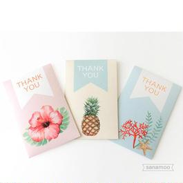 【名入れ無料】ポチ袋6枚セット トロピカル(ハイビスカス、パイナップル、サンゴ):お車代やお礼用に