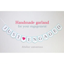 ご婚約用ガーランド JUST ENGAGED (6色からお選びいただけます)