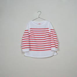 Lady's Gauze Border B-Neck Sht.  /  White × Red